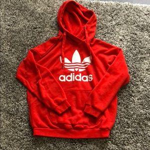 Orange/red adidas oversized hoodie
